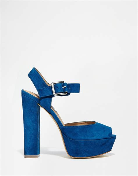 navy heeled sandals steve madden jillyy navy platform heeled sandals in blue