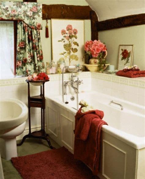 badezimmer design mit blumen und pflanzen originelle - Vorhänge Cottage Style