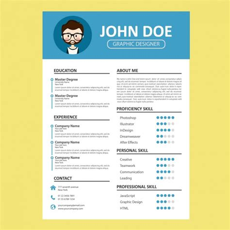 Curriculum Template by Blue Curriculum Template Vector Free