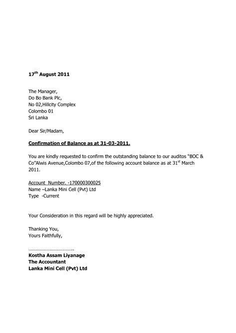 Confirmation Letter In Format request for confirmation letter format letter format 2017