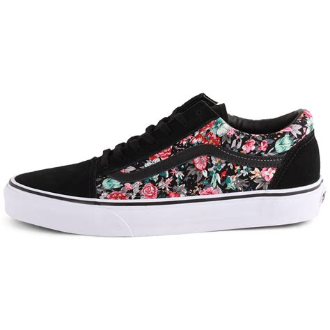 new shoes vans multi floral skool womens black multi trainers