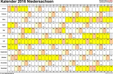 Jahreskalender 2018 Niedersachsen Kalender 2016 Niedersachsen Ferien Feiertage Excel Vorlagen