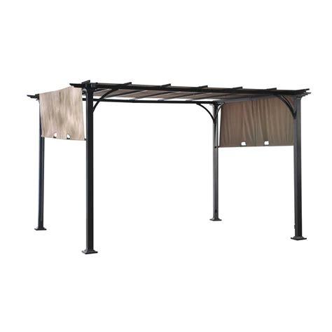 home depot steel pergola sunjoy doubleton 10 ft x 8 ft matte black steel pergola