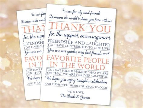 reception thank you card template wedding reception thank you card navy coral instant