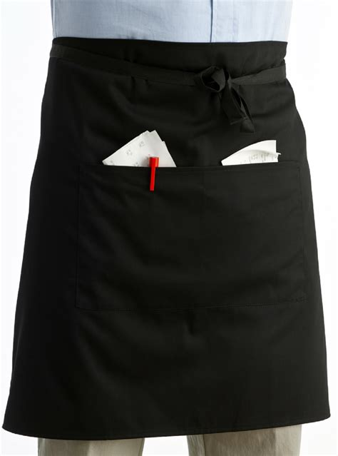 Half Apron black polyester cotton half apron with pocket professional