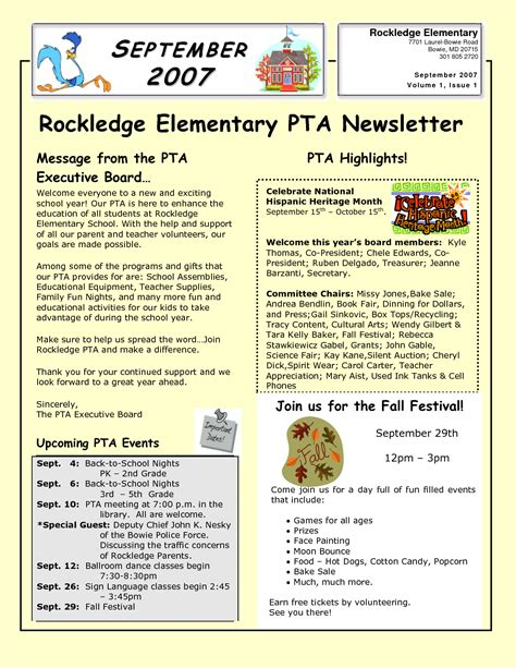 best photos of exles of pta newsletters sle pta
