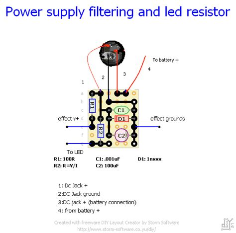 power supply resistors stompboxed the guitar pedal builders repository power filter led daughterboard