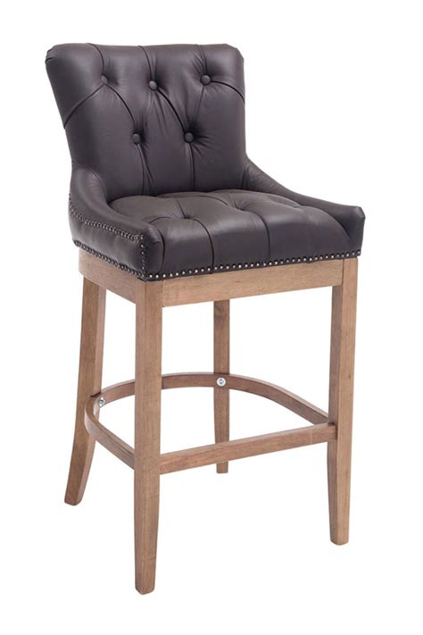 Real Leather Bar Stool Bar Stool Buckingham Real Leather Breakfast Kitchen Vintage Armchair Chair Pub Ebay