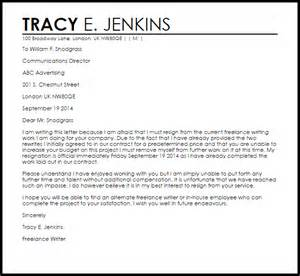 Resignation Letter Sle End Contract Independent Contractor Resignation Letter Livecareer