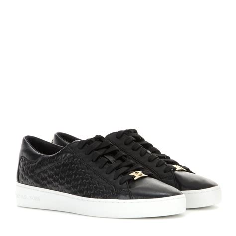 black michael kors sneakers michael michael kors colby leather sneakers in black lyst