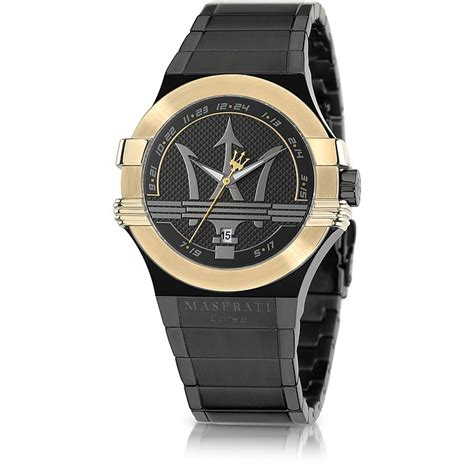 black and gold maserati maserati potenza black and gold pvd stainless steel unisex