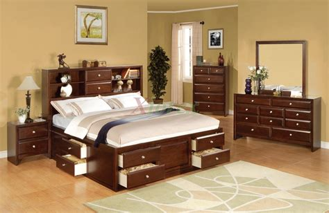 toronto 6 piece queen storage bedroom set pecan value