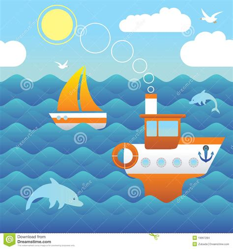 cartoon boat on the sea boats in the sea stock images image 19967284