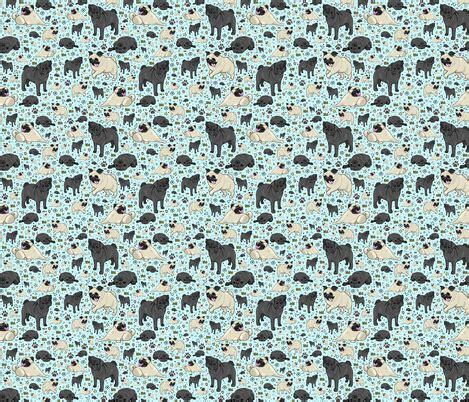 pug print material pug fabric nemki spoonflower