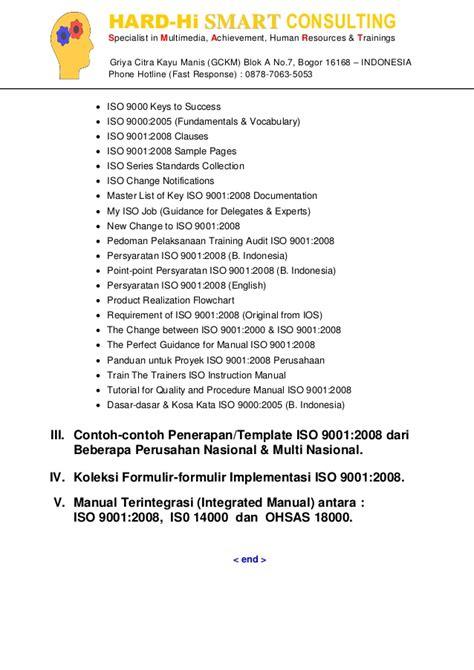 contoh template lengkap iso 9001 untuk perusahaan