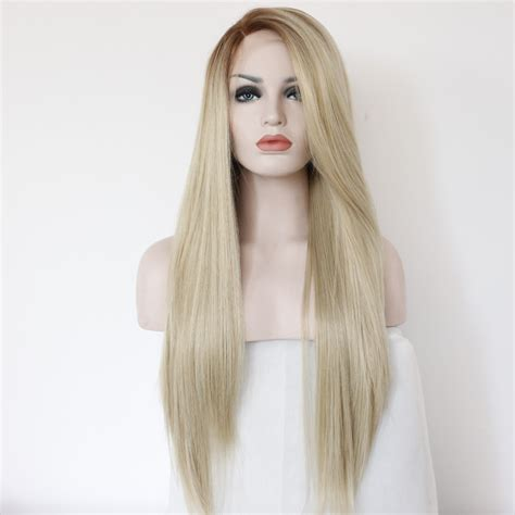 pictures of hair weaves on caucasion women handmade straight ombre brown blonde synthetic lace front