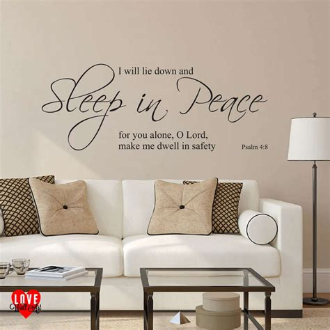 Quotes Wall Sticker sleep in peace psalm 4 8 prayer wall art sticker