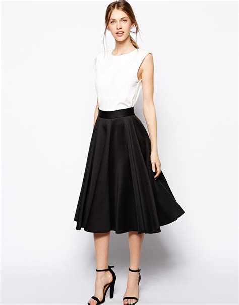 black pleated midi skirt closet skater skirt in