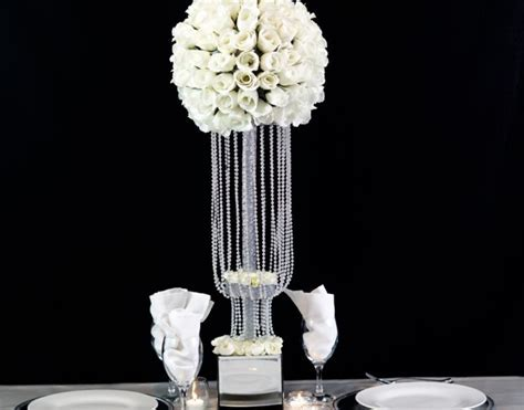 Tall Waterfall Beaded Centerpiece For Your Wedding or