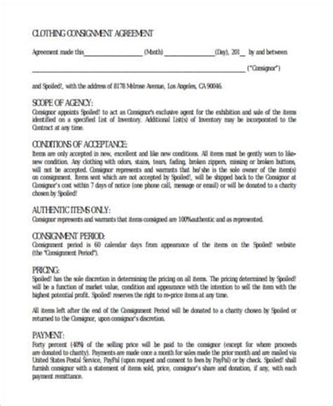 consignment shop contract template consignment agreement form sles 9 free documents in pdf