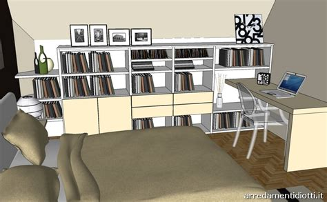 da letto e studio a mansarda con libreria logo e armadio mega