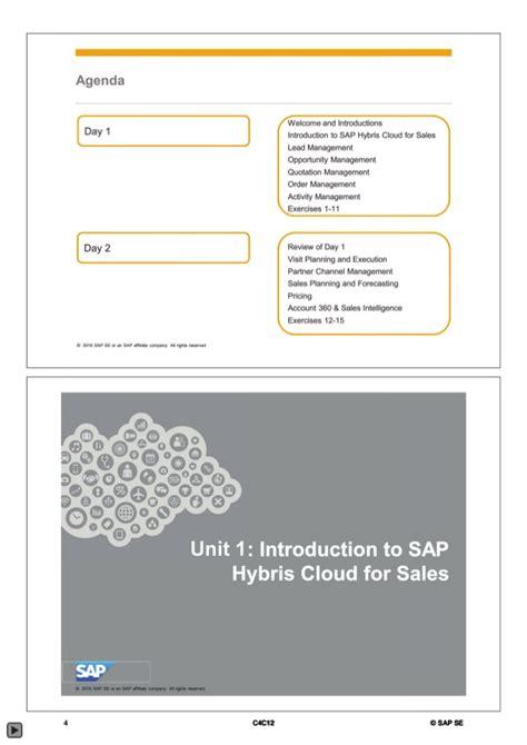 sap hybris tutorial sap c4c12 sap hybris cloud for sales
