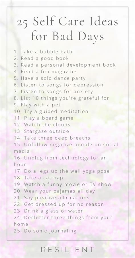 Things To Help You Out by 25 Self Care Ideas For Bad Days Resilient