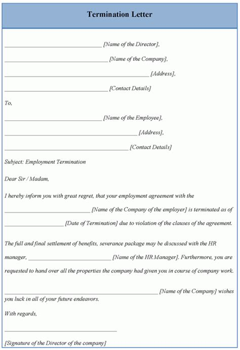 termination letter template free letter template for termination exle of termination