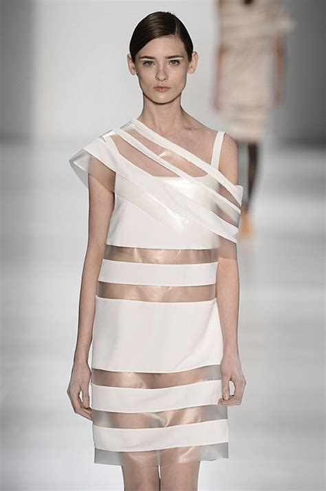Cloein Dress transparency clear dress with white block opaque panels