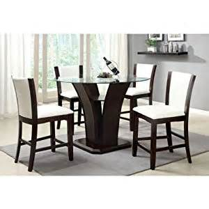 Kitchen Table Height - amazon com manhattan dark cherry finish 5 piece round glass top ivory white upholstery counter