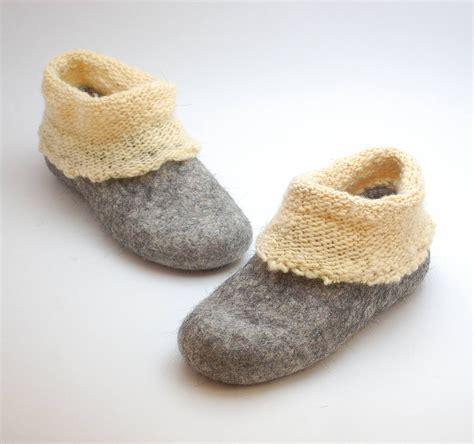 woolen slippers felt wool slipper boots with knitted ankle organic wool felt