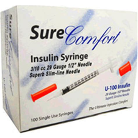 sure comfort insulin syringes sure comfort insulin syringes 29 gauge 3 10cc 1 2 inch