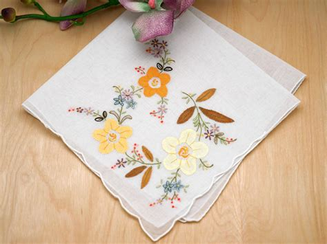embroidery design for handkerchief set of 3 yellow floral applique embroidered handkerchiefs