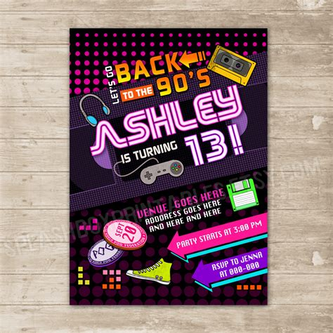 Back To The 90 S Invitation Nineties Party Invite Flashback Throwback Birthday Card 183 Splashbox 90s Invitations Template Free