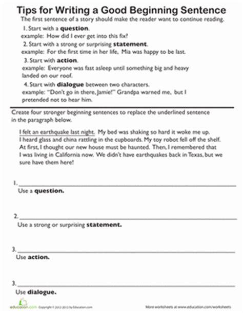 opening sentences writing practice worksheet education com