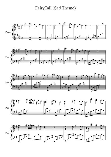 swinging on a star theme song fairy tail sad theme piano sheet music pinterest
