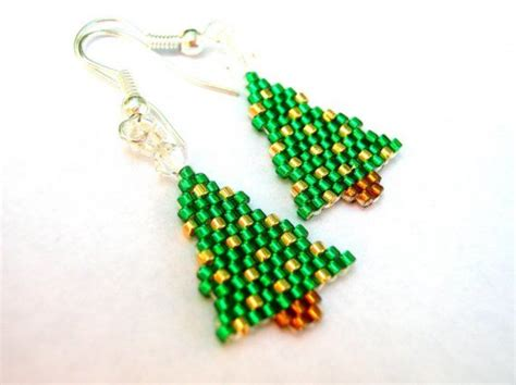 green and 24kt gold little christmas tree beaded earrings