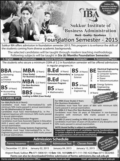Iba Mba Program Office by Iba Sukkur Open Admission Semester 2015 Admission In