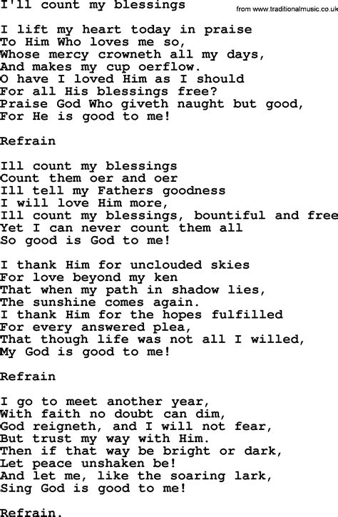 Wedding Blessing Hymns by Wedding Hymns And Songs I Ll Count My Blessings Txt