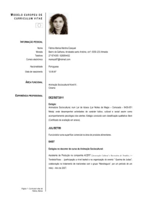 Modelo Europeu Curriculum Vitae Em Inglês Europass Curriculum Vitae