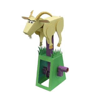 printable paper automata papercraft clim leaping goat paper automata