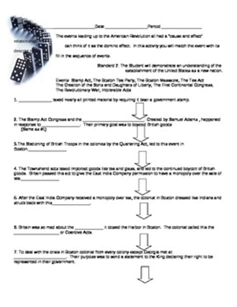 American Revolution Worksheets For by Causes Of The American Revolution Worksheet Photos