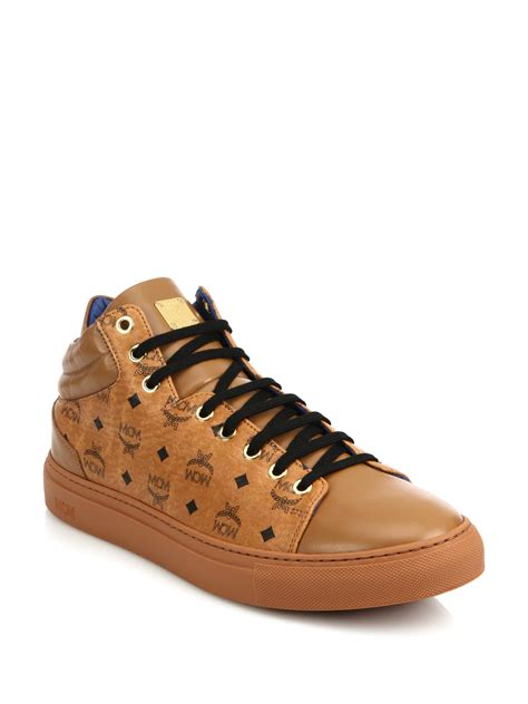mcm mens sneakers mcm coated canvas leather mid rise logo sneakers in