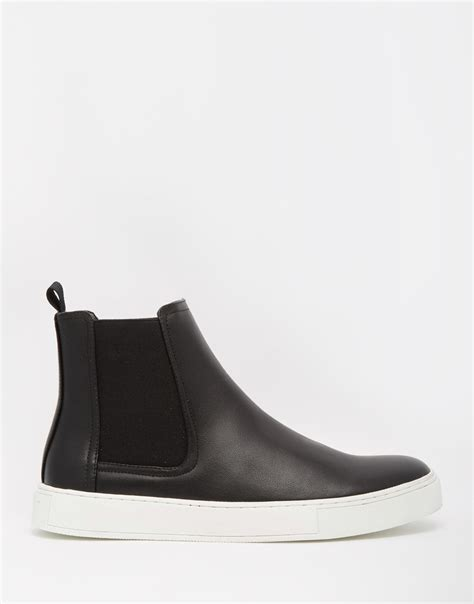 asos chelsea boots in black with chunky sole in black for