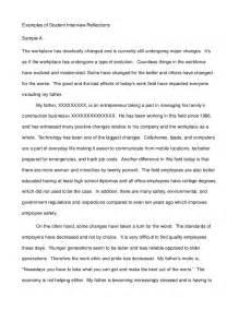 Sample Essay Question For Job Interview Examples Of Student Interview Reflections