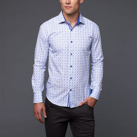 pattern button up button up shirt blue pattern m bespoke touch of