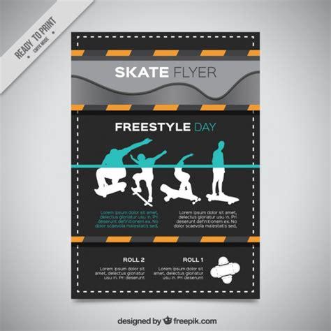 Moderne Flyer Vorlagen Moderne Skate Flyer Mit Silhouetten Der Skater Der Kostenlosen Vektor