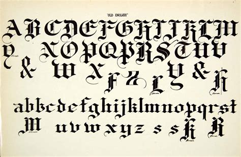 printable old english fonts 1937 print old english typeface alphabet letter art fancy