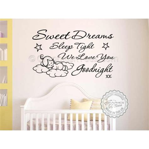 Sweet Dreams Wall Stickers sweet dreams sleep tight wall art sticker baby boy girl