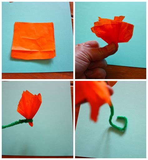 Flowers Out Of Tissue Paper And Pipe Cleaners - how to make tissue paper flowers without pipe cleaners